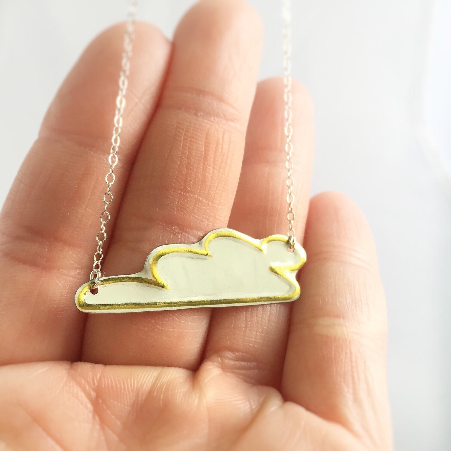 Recycled vintage tin can jewelry - cloud necklace