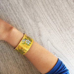 Yellow floral bracelet cuff - vintage tin can jewelry