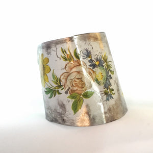 Recycled Vintage Tin Jewelry - Distressed Floral cuff Bracelet Main Image