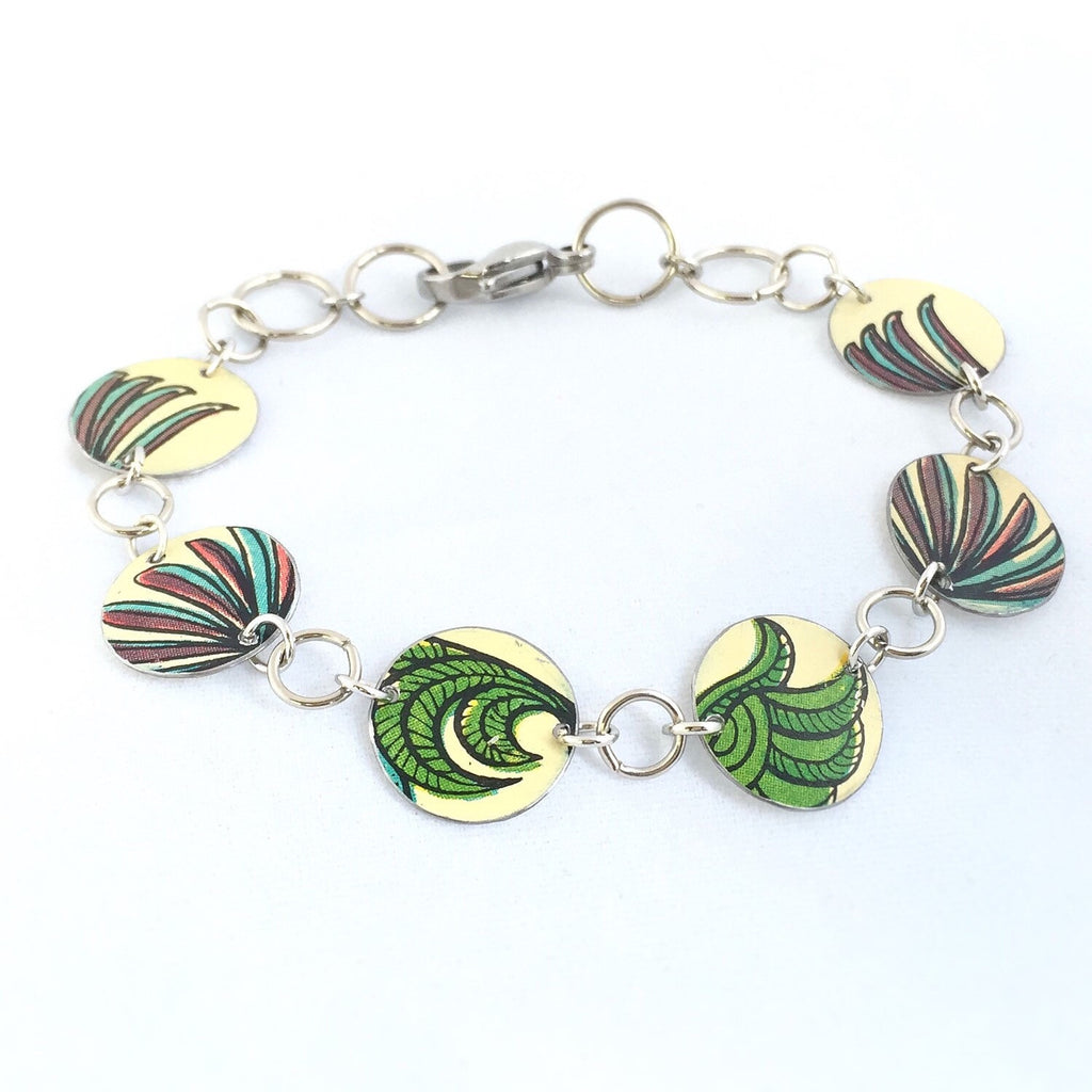 Tin Jewelry Bracelet - Recycled Vintage folk art tin - Rooster feathers and Fox Tails Main image