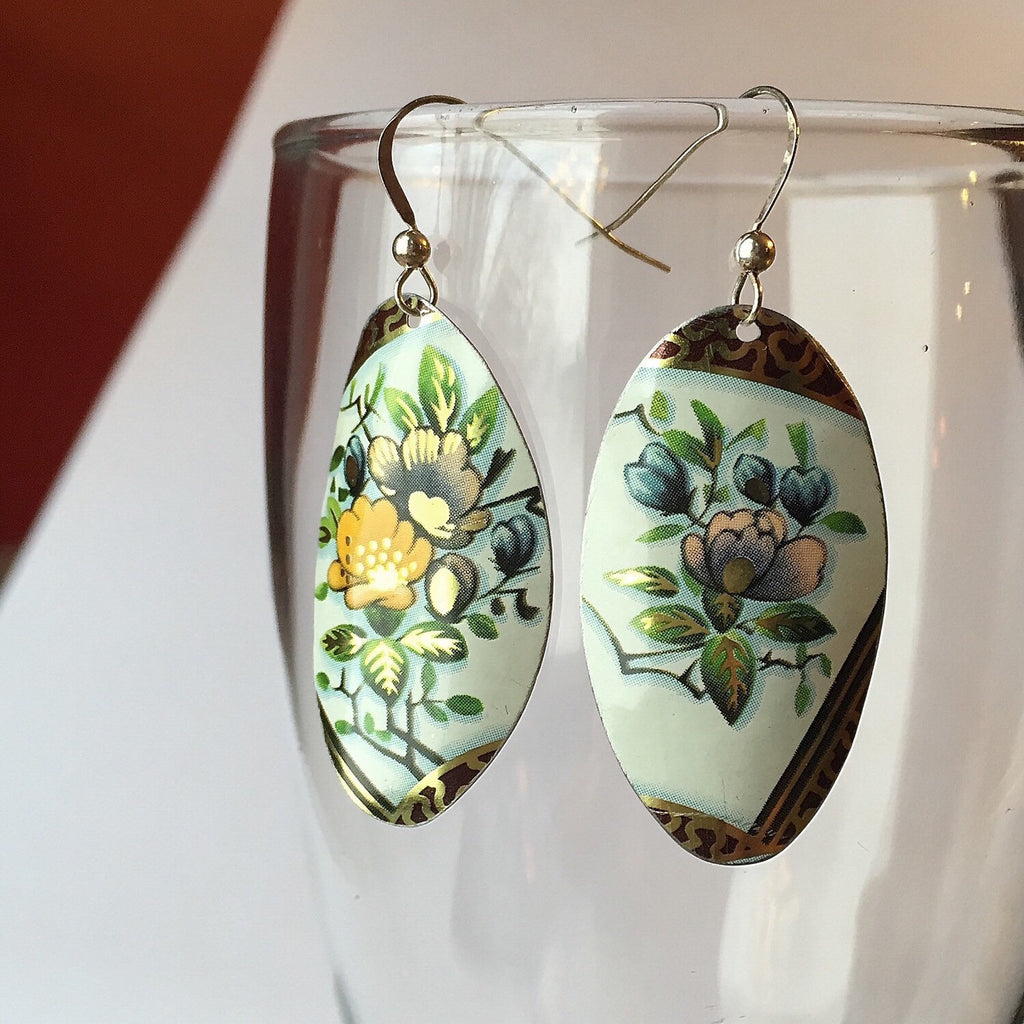 Floral Tin Oval earrings - vintage tin jewelry