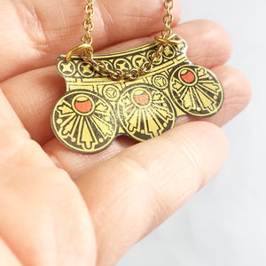 Art Deco tin necklace - vintage biscuits tin can jewelry