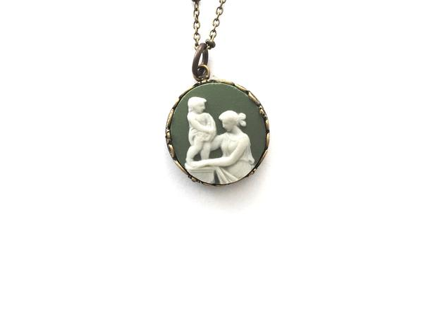 Green Wedgwood plate cameo necklace - broken china jewelry
