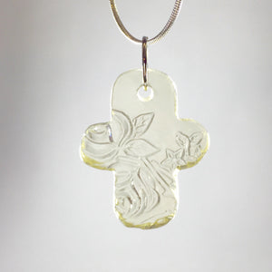 Depression glass pendant cross necklace