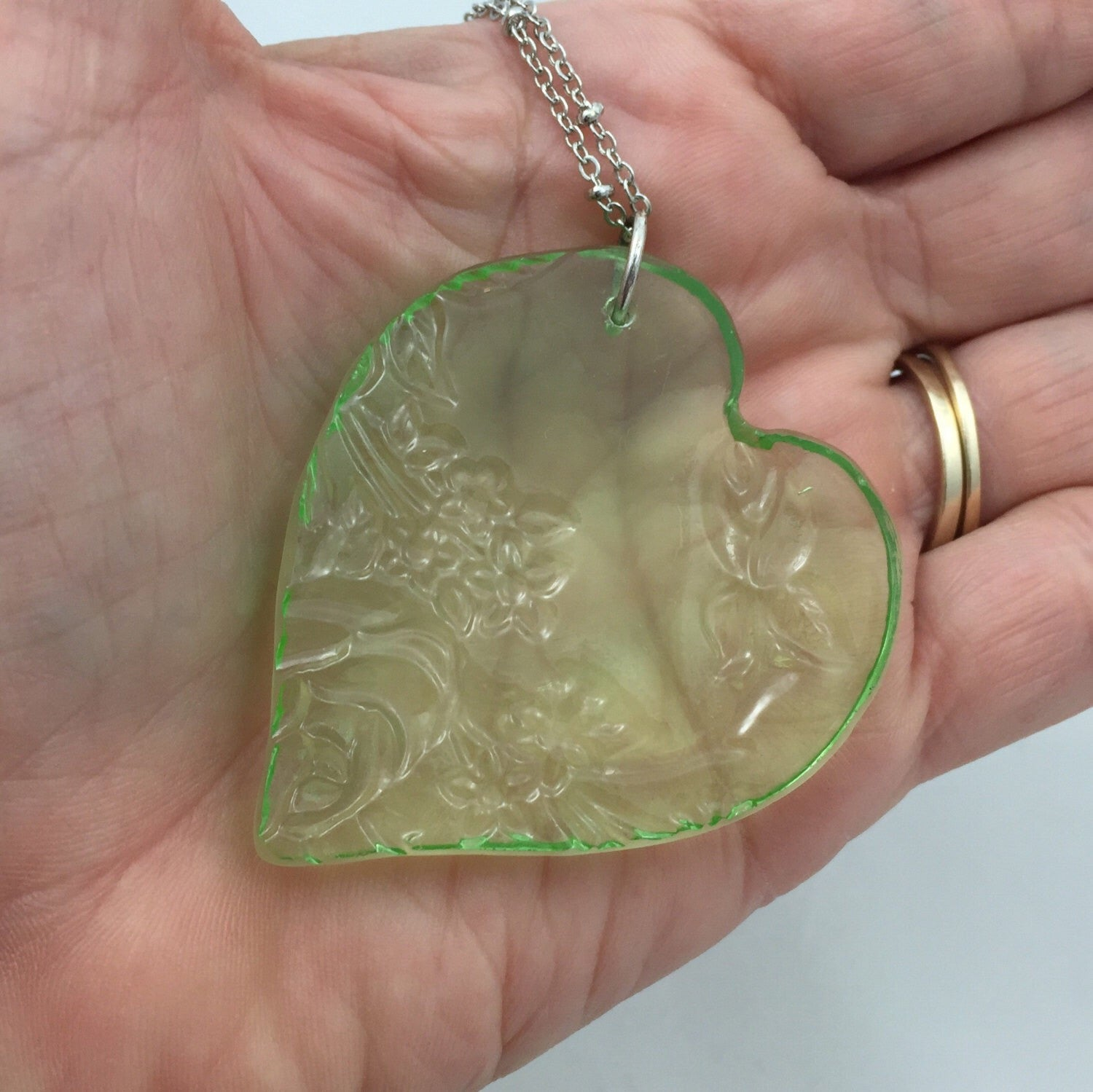 Green depression glass necklace