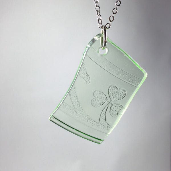 Green depression glass pendant
