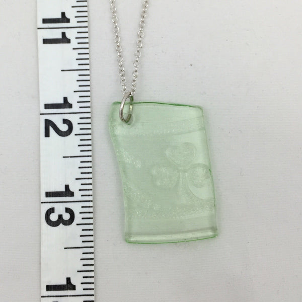 Green clover depression glass pendant