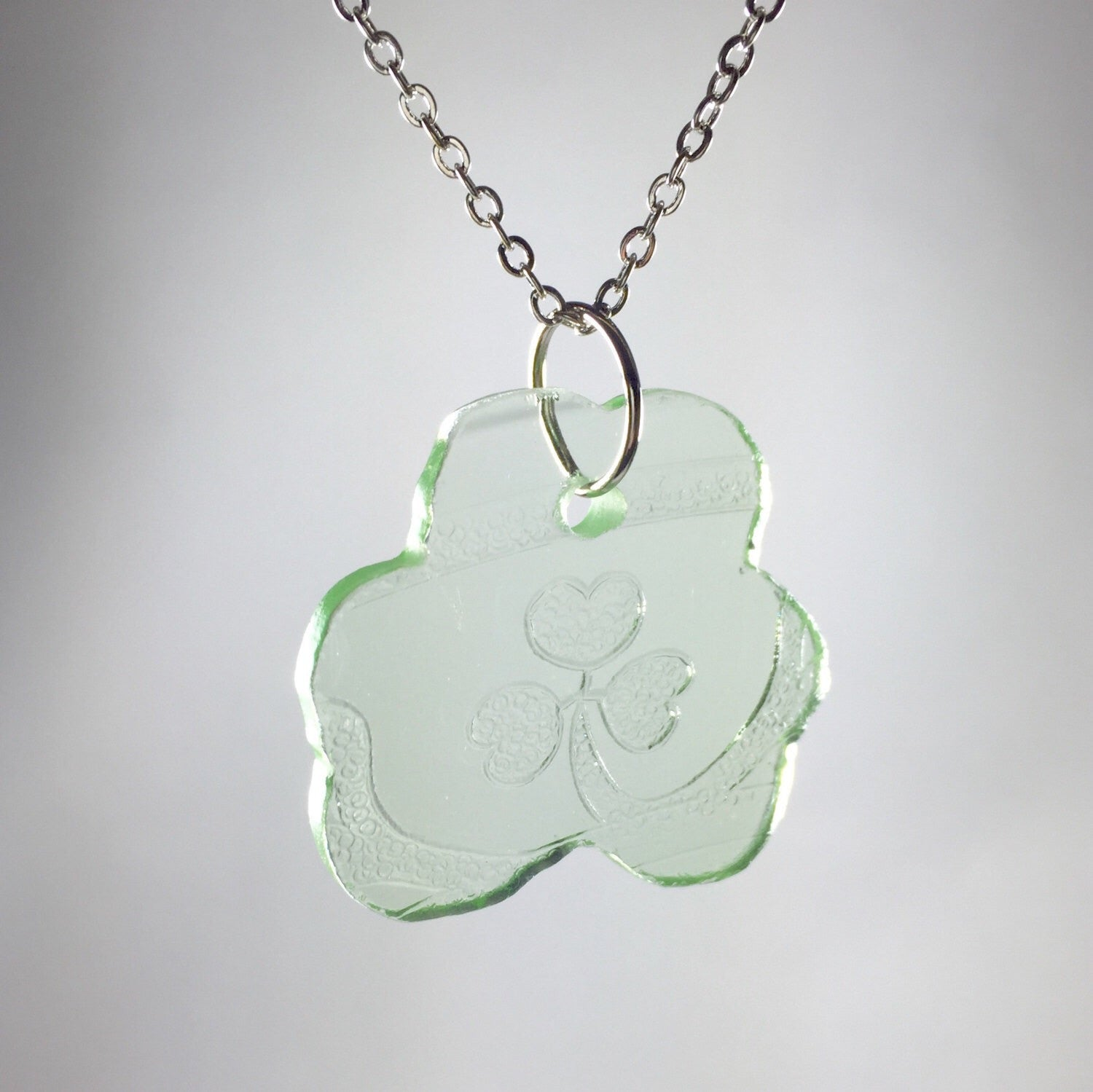 Green clover Depression Glass Necklace