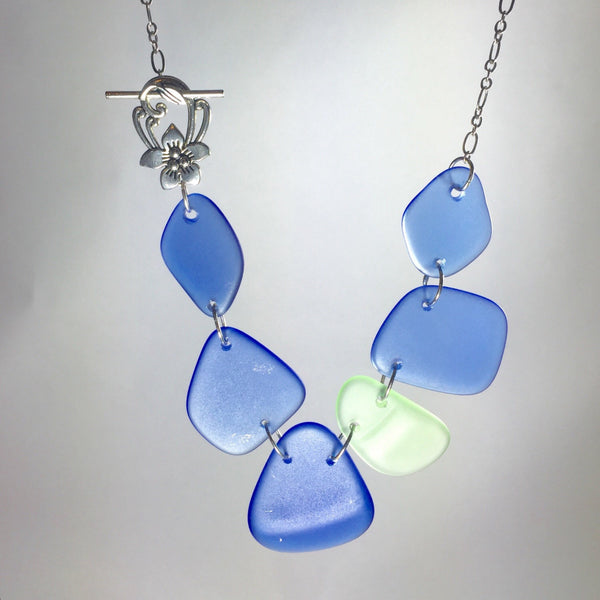Broken china jewelry- depression glass necklace - Valentine's Day gift ideas
