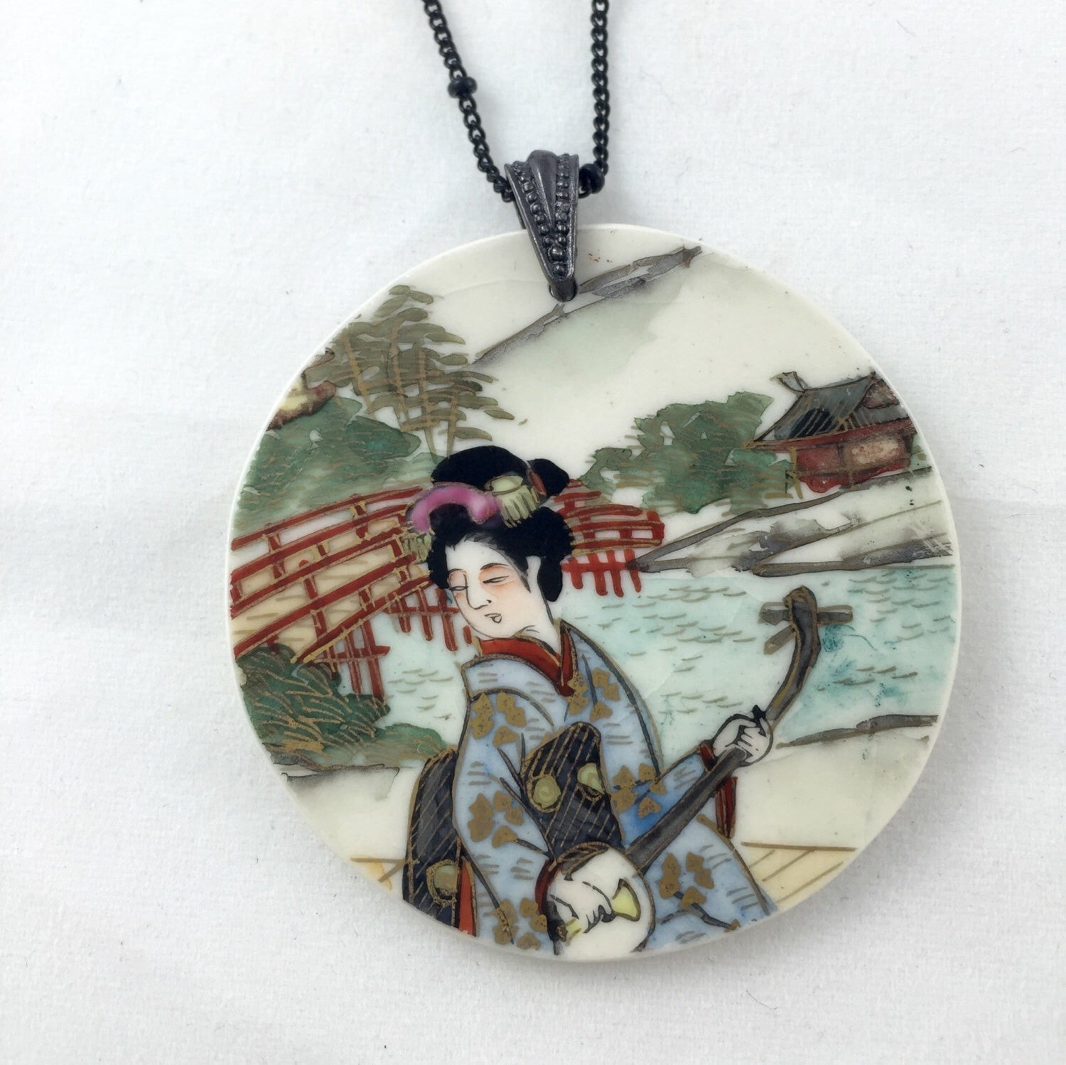 Broken china jewelry- shabby chic necklace
