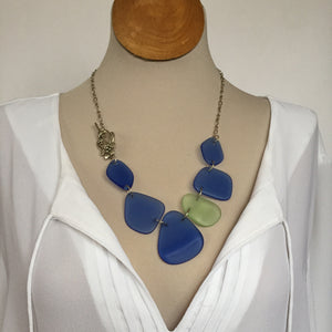 Depression glass jewelry - Sea glass necklace
