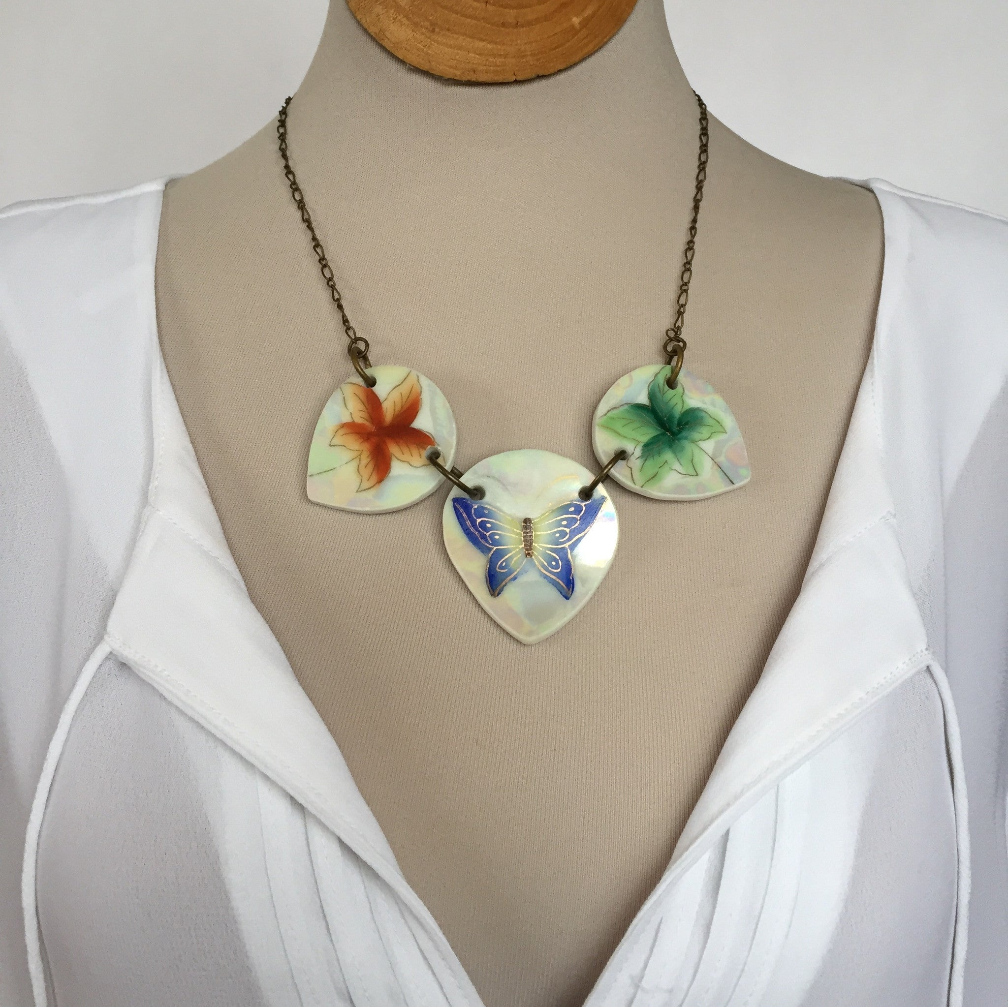 Broken China Jewelry - Butterfly plate Statement necklace with Shirt