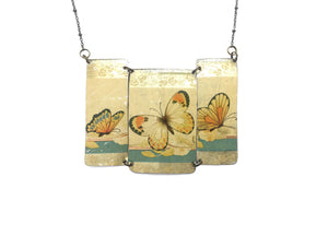 Recycled Tin Statement necklace - Vintage Gold Butterfly Chocolates Tin