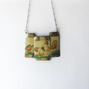additional image Recycled Tin Statement necklace - Vintage Gold Butterfly Chocolates Tin