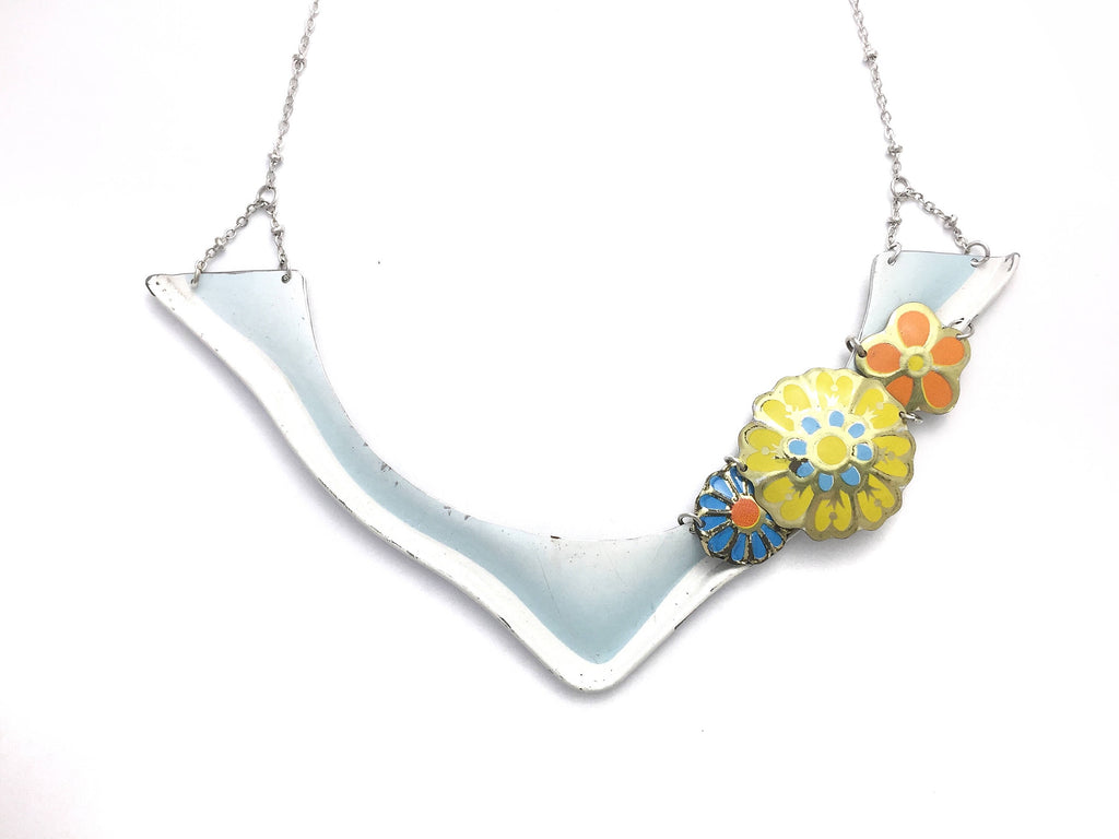 Recycled Vintage Tin Jewelry - Floral Collar Bib Statement Necklace - Pastel Blue Main Image