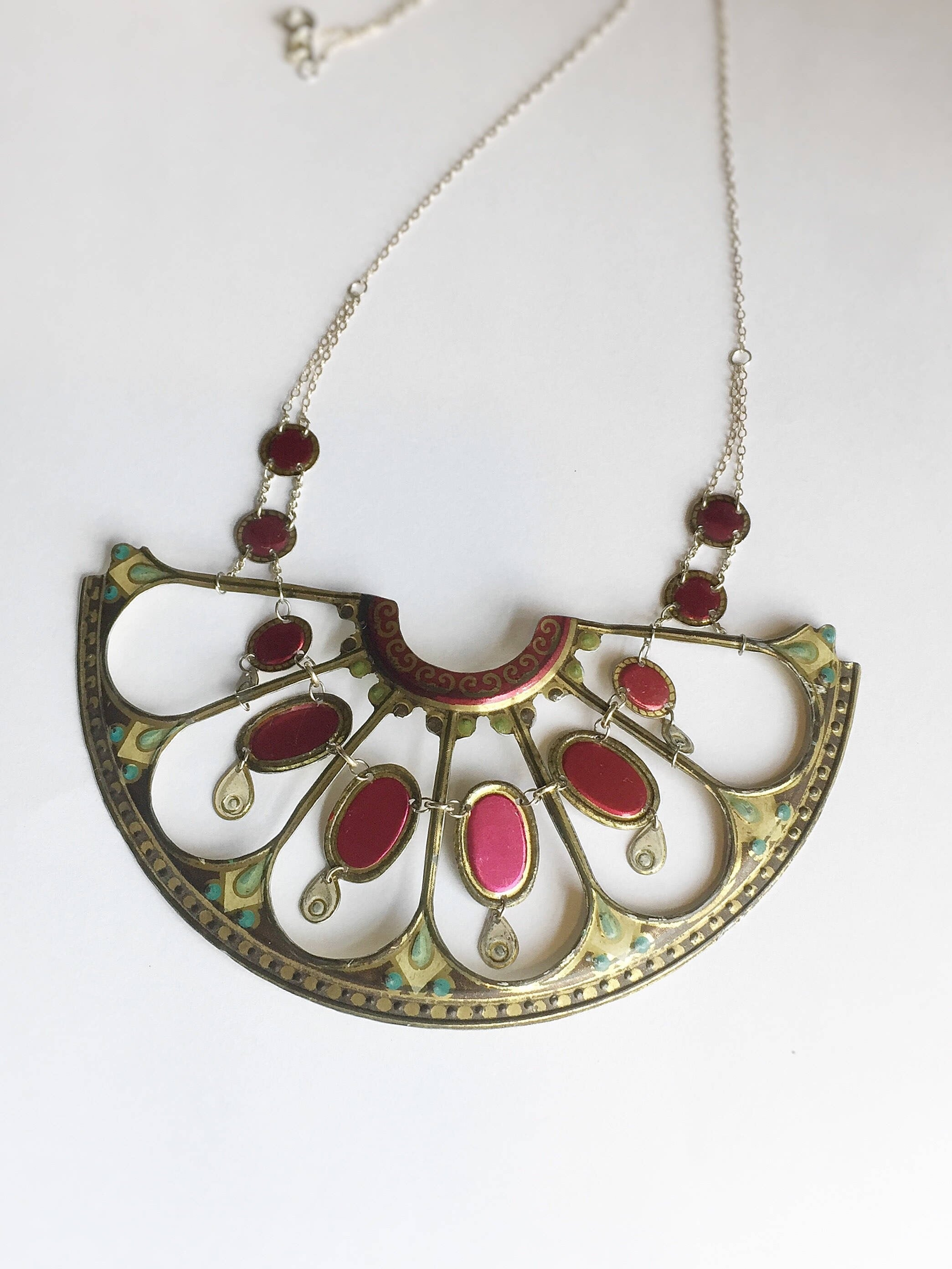 Tin Jewelry - Vintage Victorian statement necklace Main Image 2