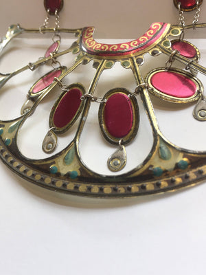 Tin Jewelry - Vintage Victorian statement necklace close up image