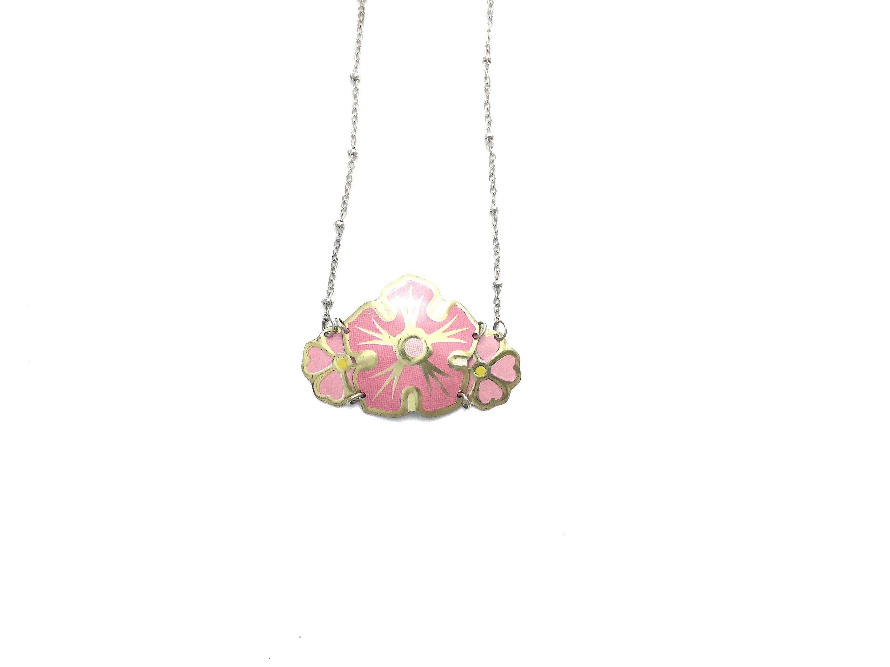 Pink flower necklace - vintage tin jewelry