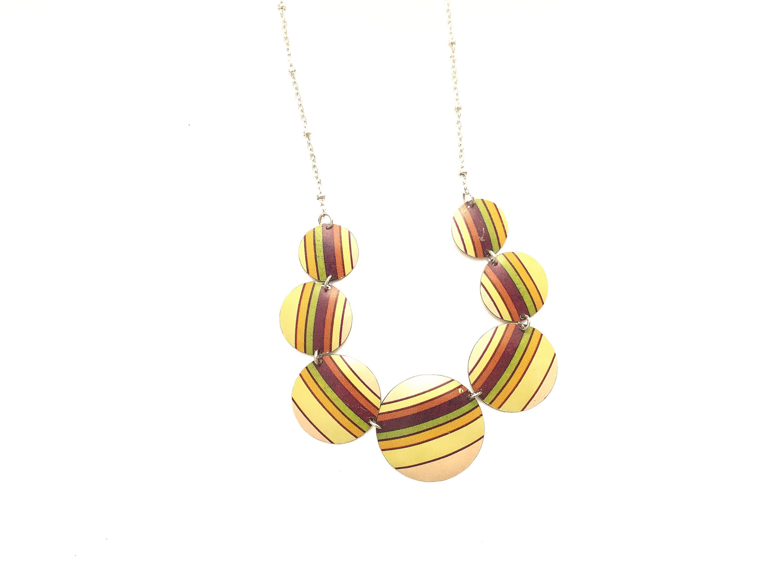 Recycled Tin Jewelry - Necklace Retro Color Stripes