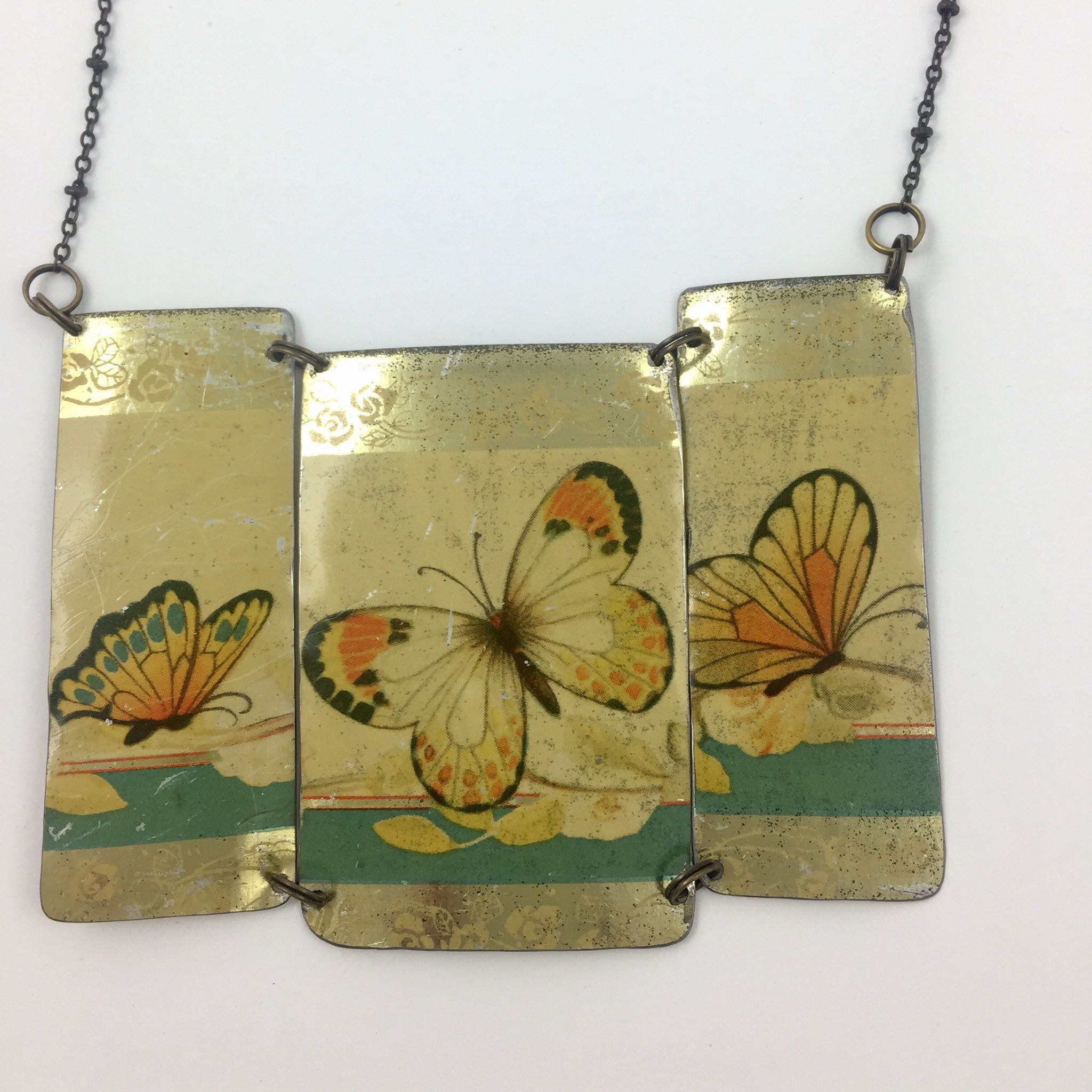 Close up Recycled Tin Statement necklace - Vintage Gold Butterfly Chocolates Tin