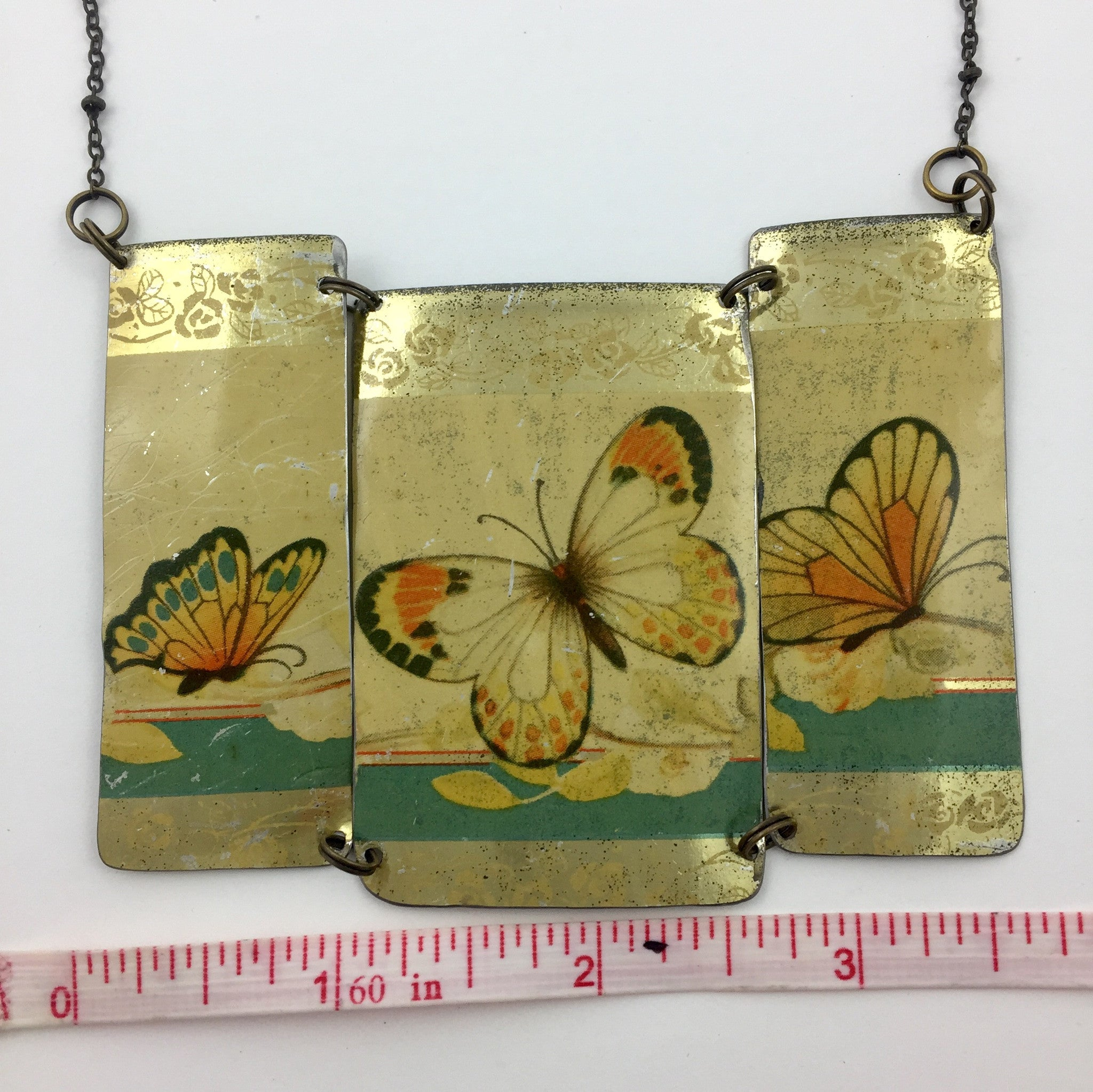 Measurement Recycled Tin Statement necklace - Vintage Gold Butterfly Chocolates Tin