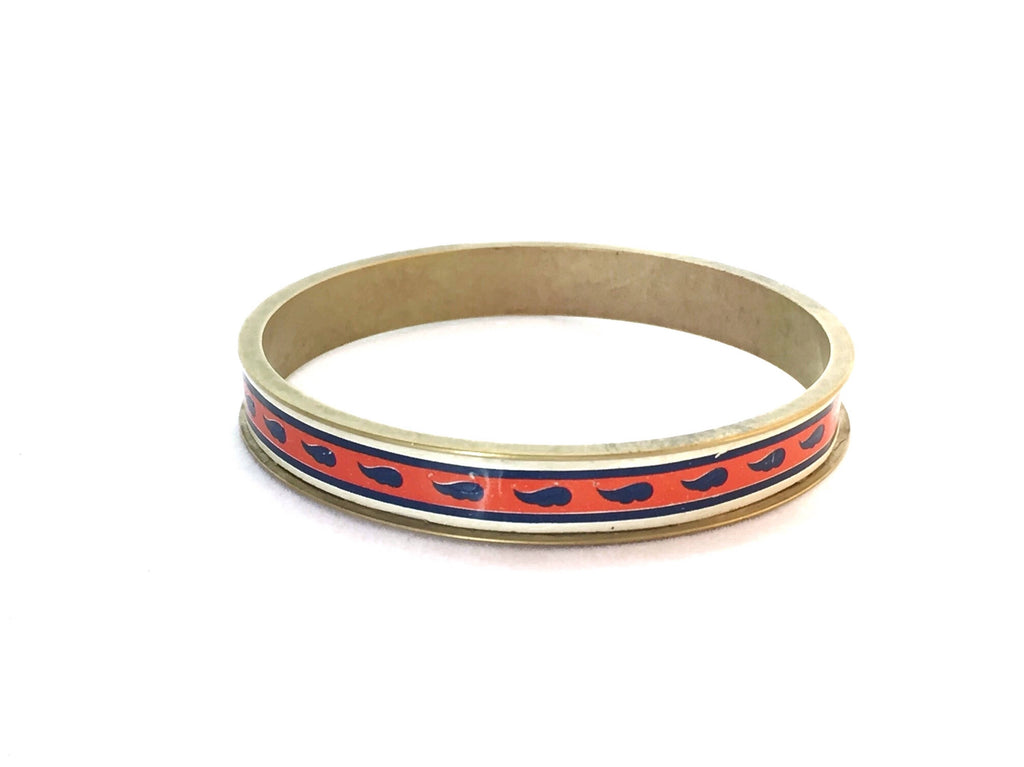 Tin Jewelry Bangle - Recycled from a Vintage Orange with Blue paisleys tin - Brass channel bracelet