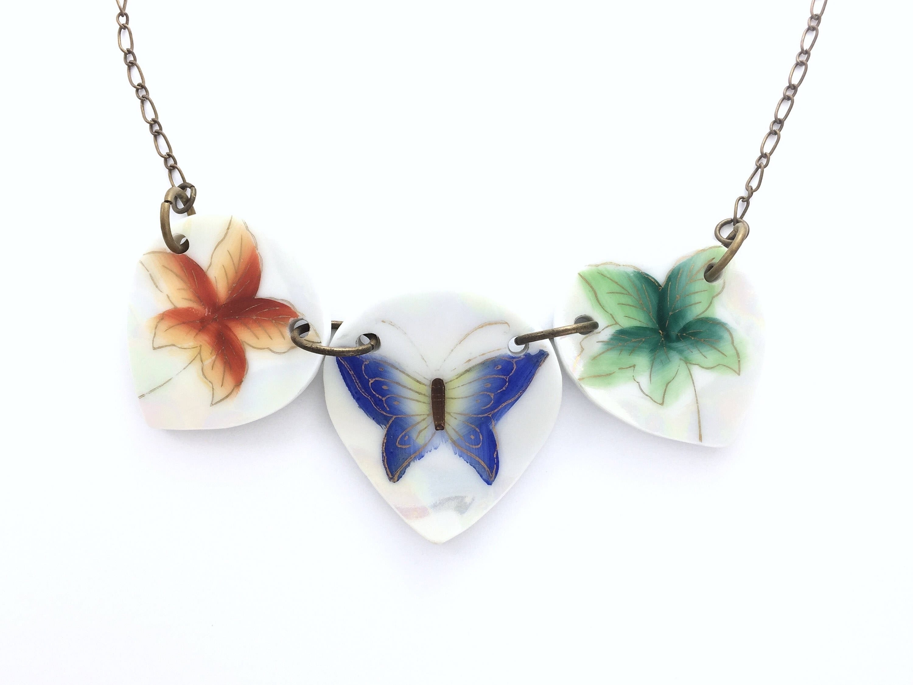 Statement necklace Broken China Jewelry - Butterfly plate Statement necklace