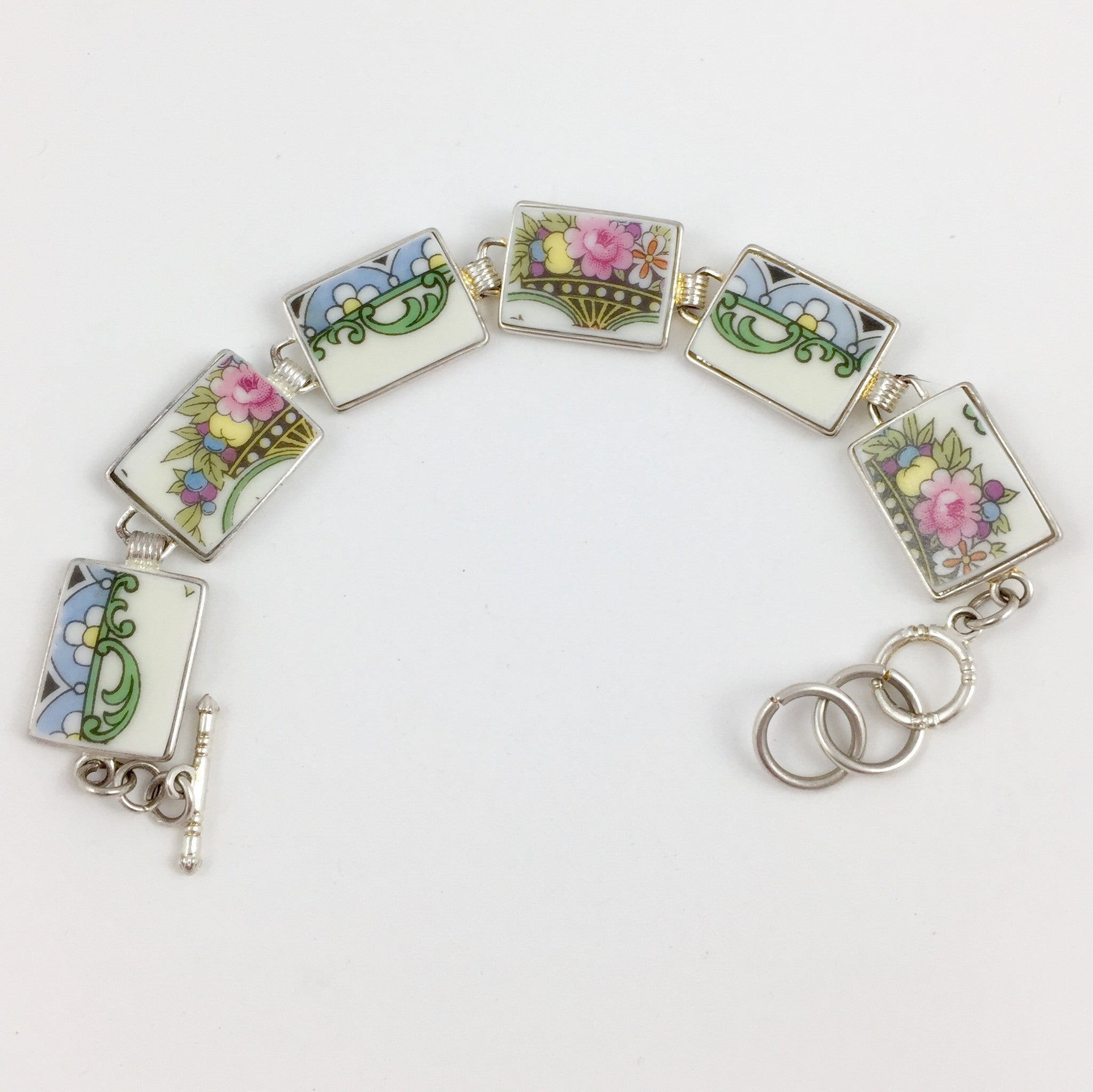 Broken China Jewelry - Pastel Plate Section Bracelet full image