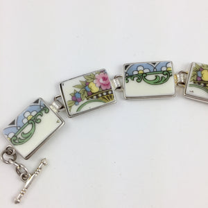 Broken China Jewelry - Pastel Plate Section Bracelet Side image 1