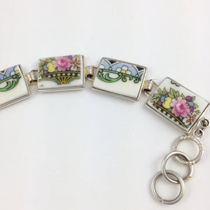 Broken China Jewelry - Pastel Plate Section Bracelet side image 2
