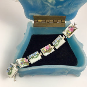 Broken China Jewelry - Pastel Plate Section Bracelet in blue box