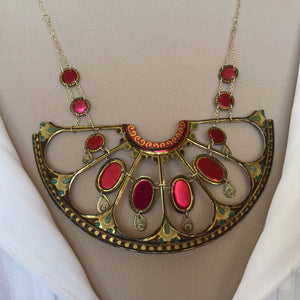 Tin Jewelry - Vintage Victorian statement necklace on shirt model close up
