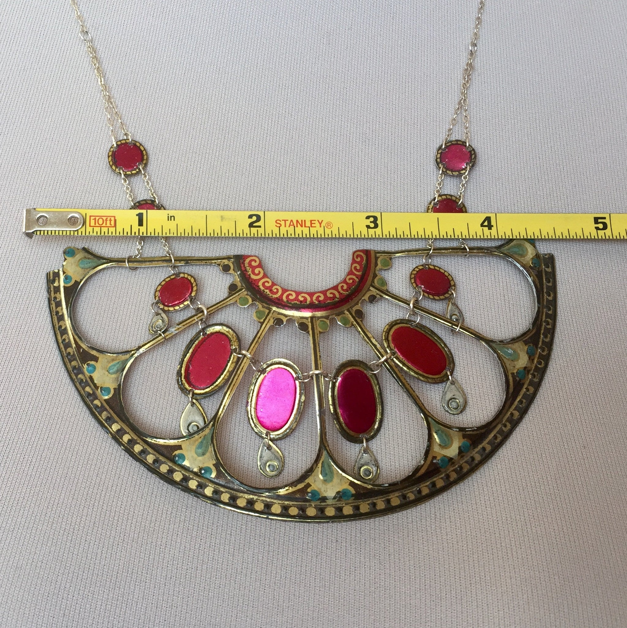 Tin Jewelry - Vintage Victorian statement necklace measurements