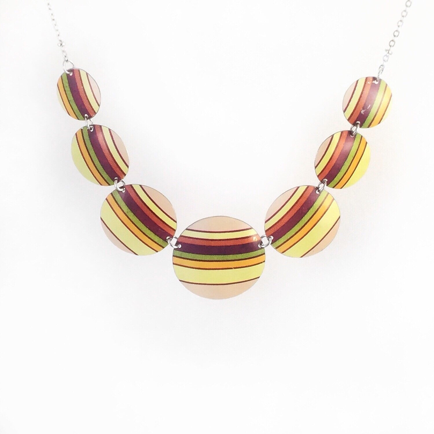 Recycled Tin Jewelry - Necklace Retro Color Stripes Additional Image