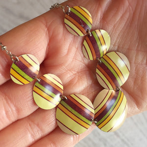 Recycled Tin Jewelry - Necklace Retro Color Stripes In Hand Image