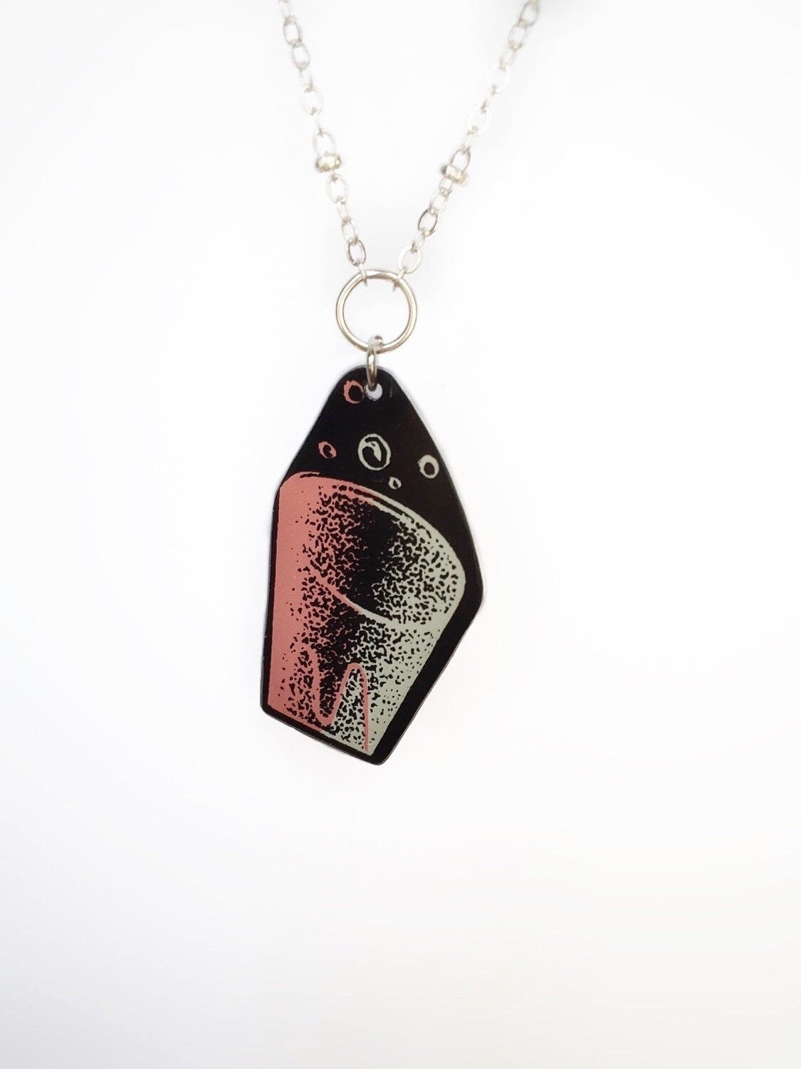 Recycled Tin Jewelry - Women's Vintage Shot Glass Necklace close up image