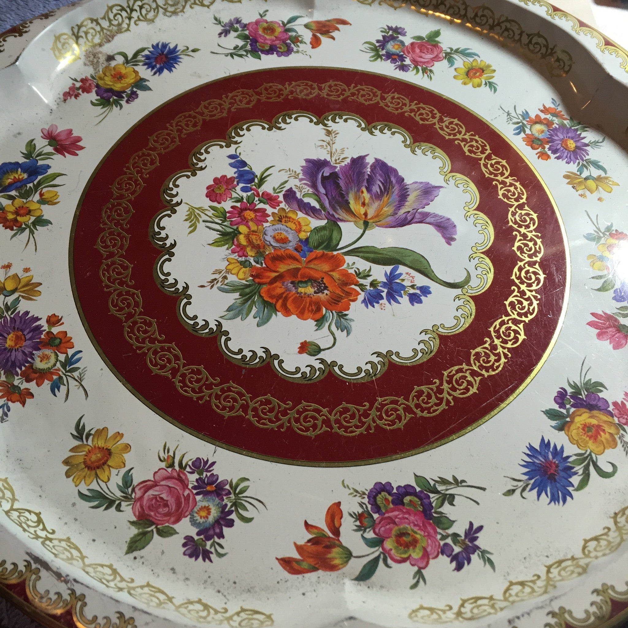 Vintage tin Serving tray - Round Flowers Brown