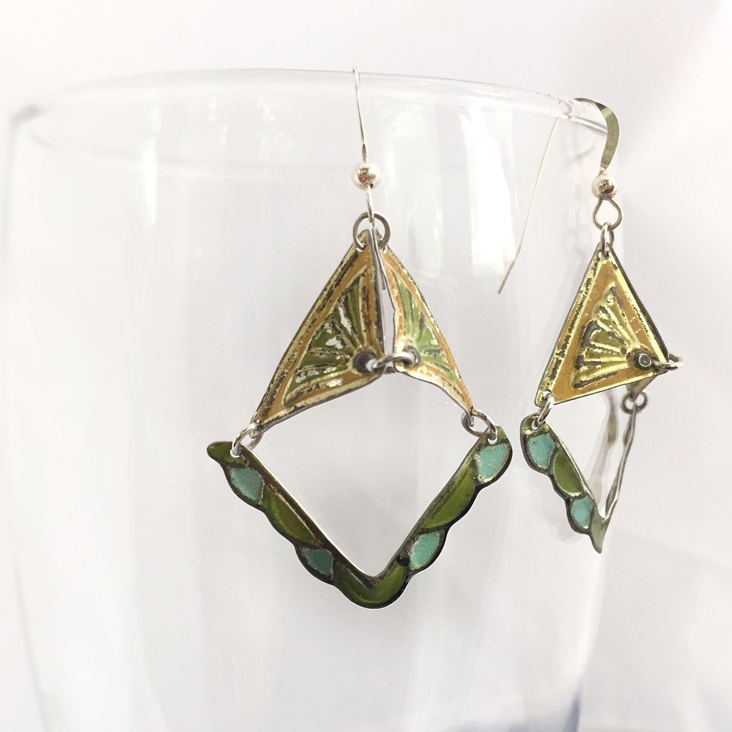 Tin jewelry - recycled vintage tin can earring - Valentine's Day gift ideas