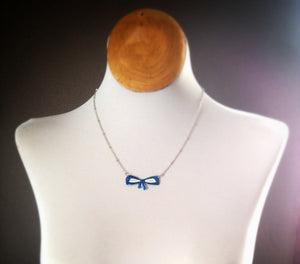 Vintage Tin Jewelry -  Blue Bow Choker Necklace on model long length