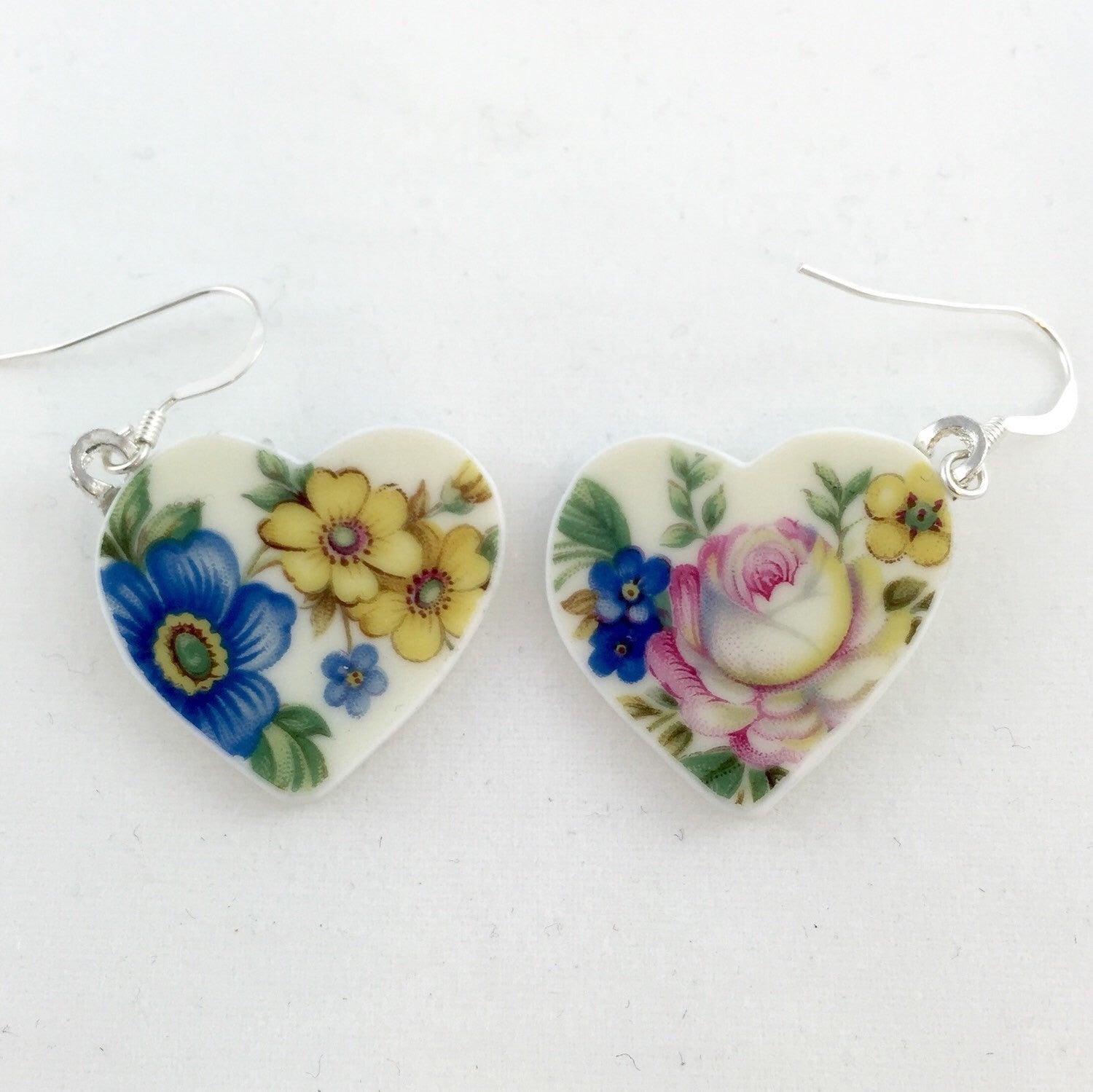 Floral heart earrings - unique gift ideas