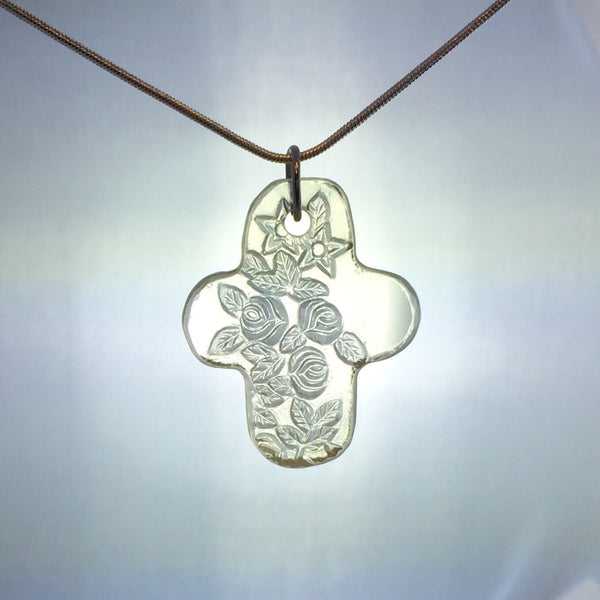 Depression glass jewelry - Broken China jewelry glass necklace