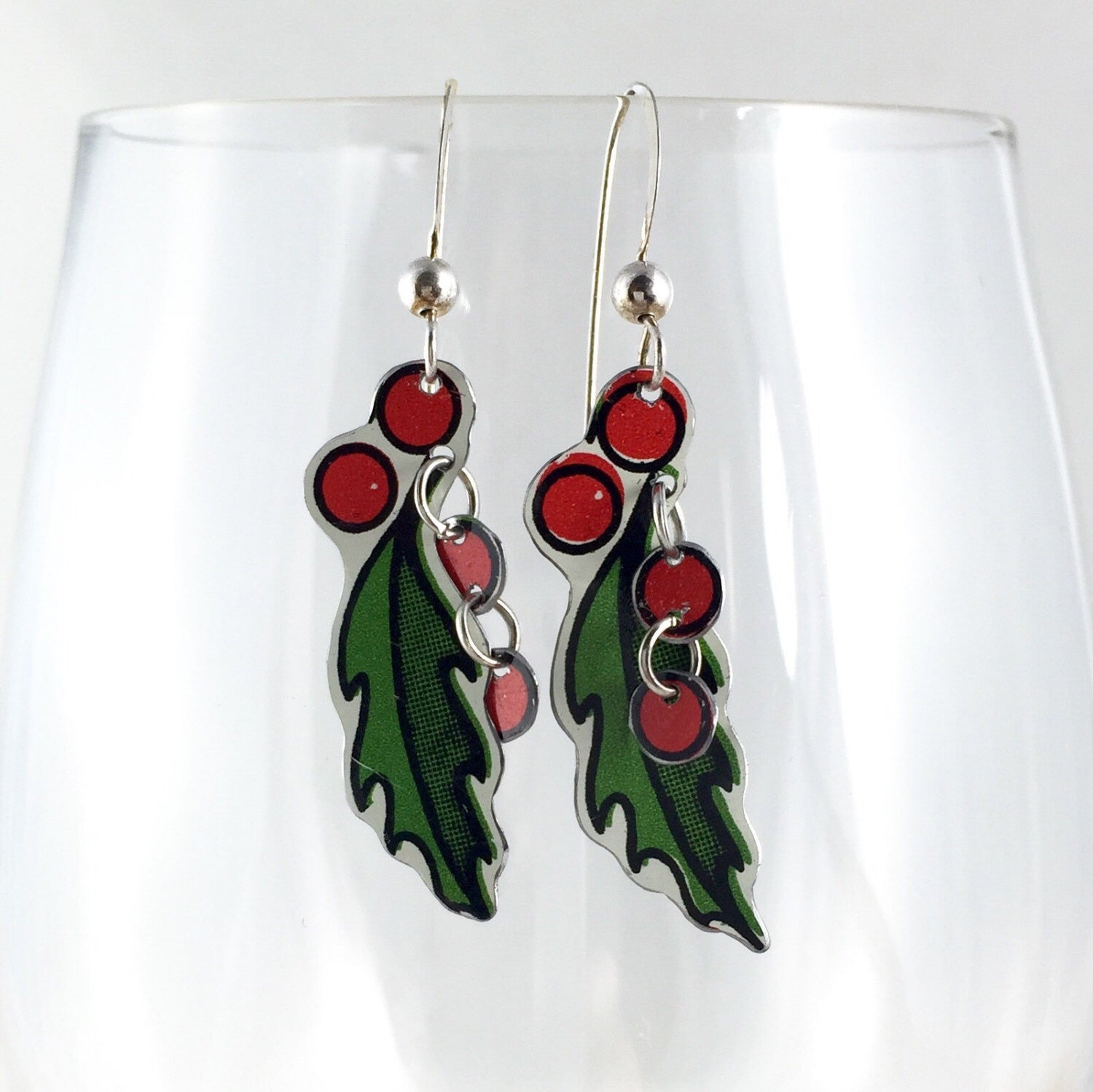 Christmas holly earrings - vintage tin jewelry