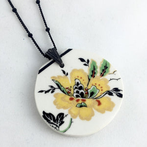 Vintage Yellow flower plate necklace - broken china jewelry