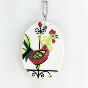 Vintage rooster pendant- Broken China jewelry