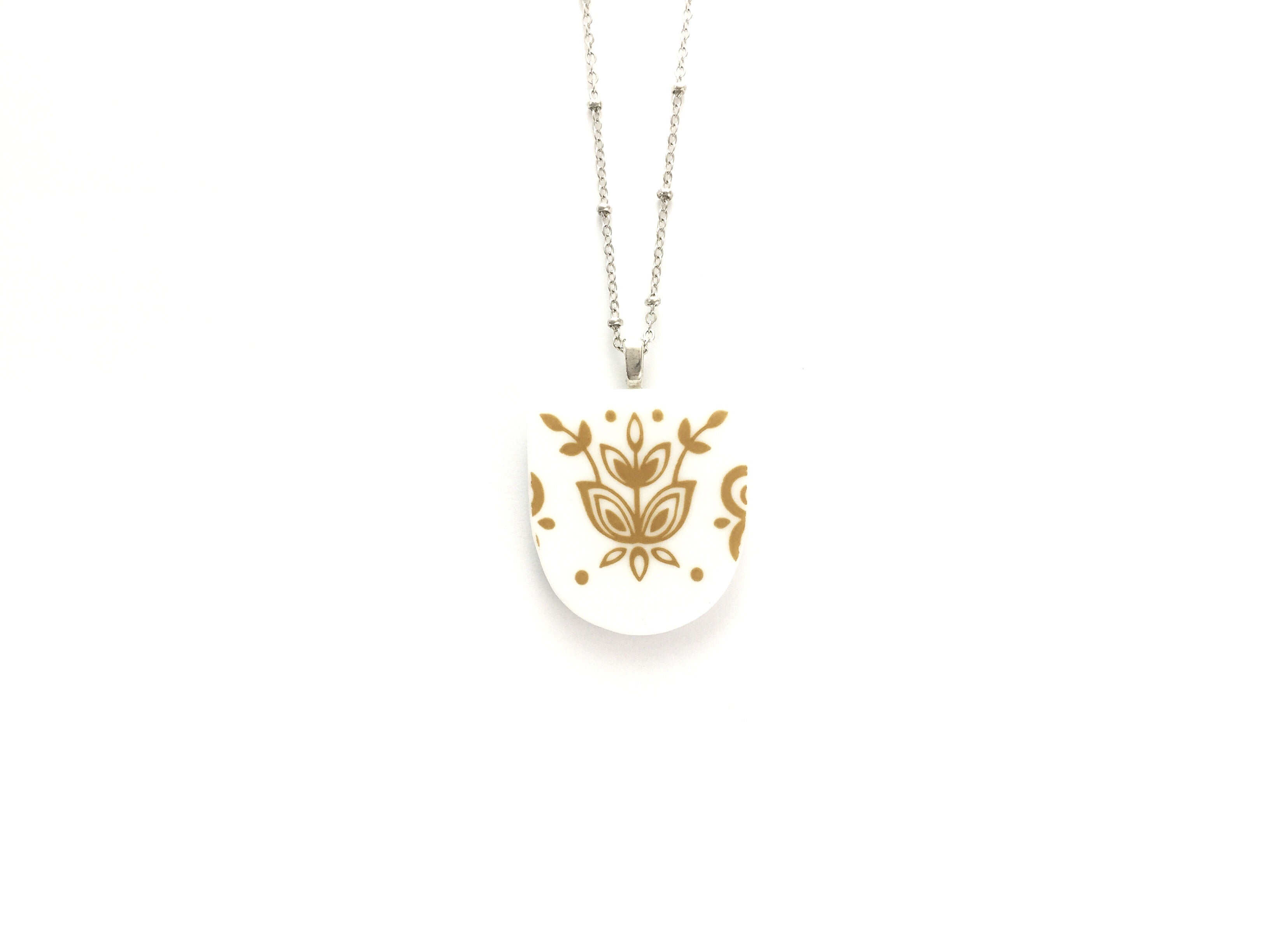 Broken China Jewelry - Corelle Necklace in Butterfly Gold Pattern Main Image
