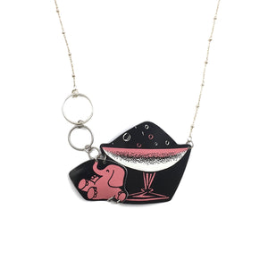 Tin Jewelry - Women's Necklace - Vintage Pink Elephant Champagne Main Image