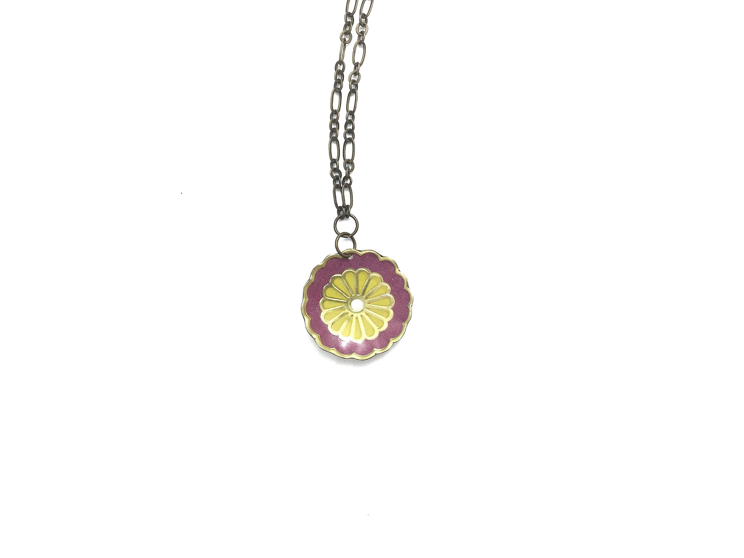 Tin Jewelry - Single Purple Flower Necklace - Recycled Vintage Tin Main Image