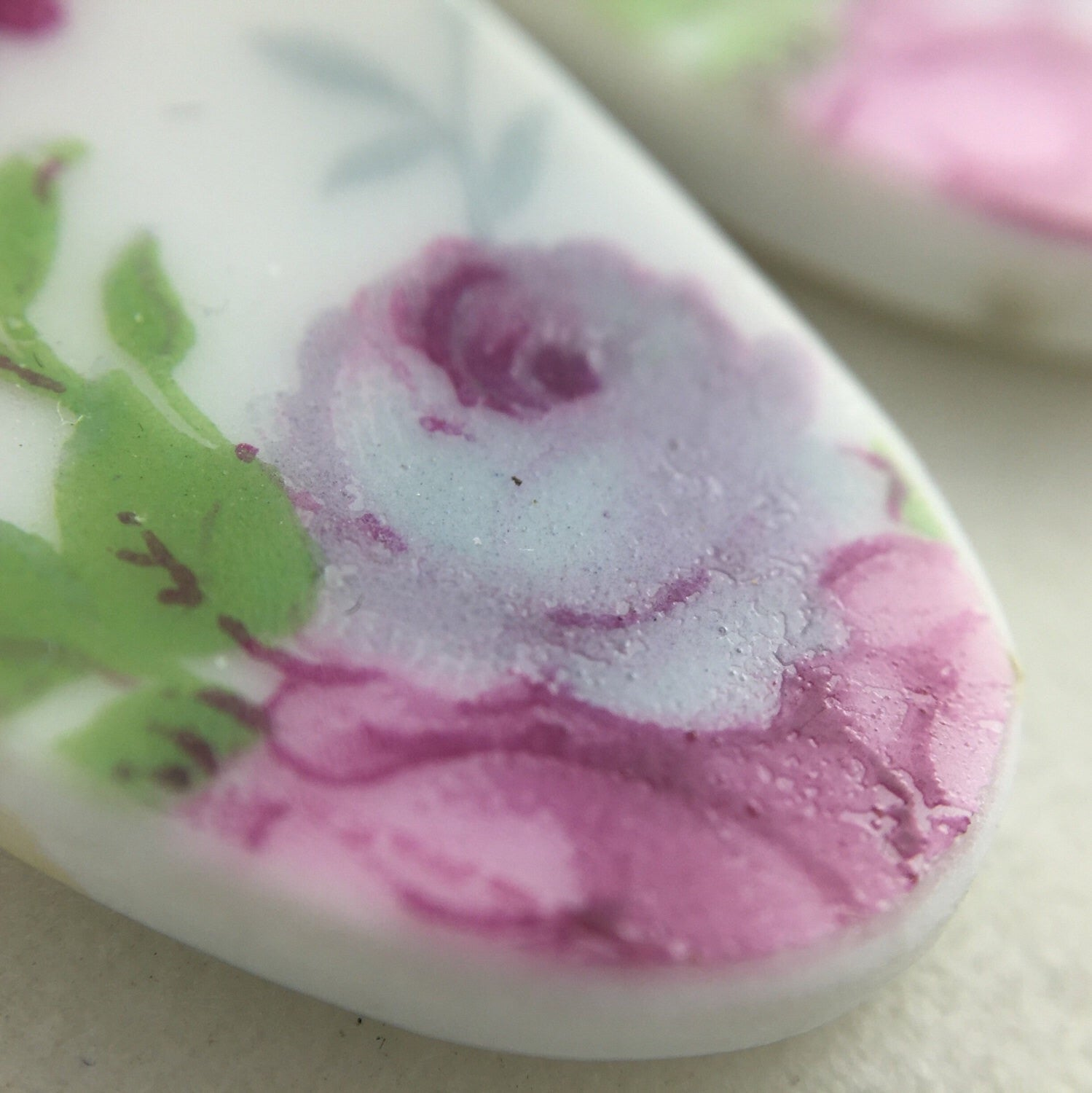 Pastel Roses Earrings - Broken China Jewelry - Lavender and Pink