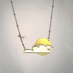 Necklace Tin Jewelry Necklace - Cloud Scene - Recycled vintage Art Jewelry Main Image