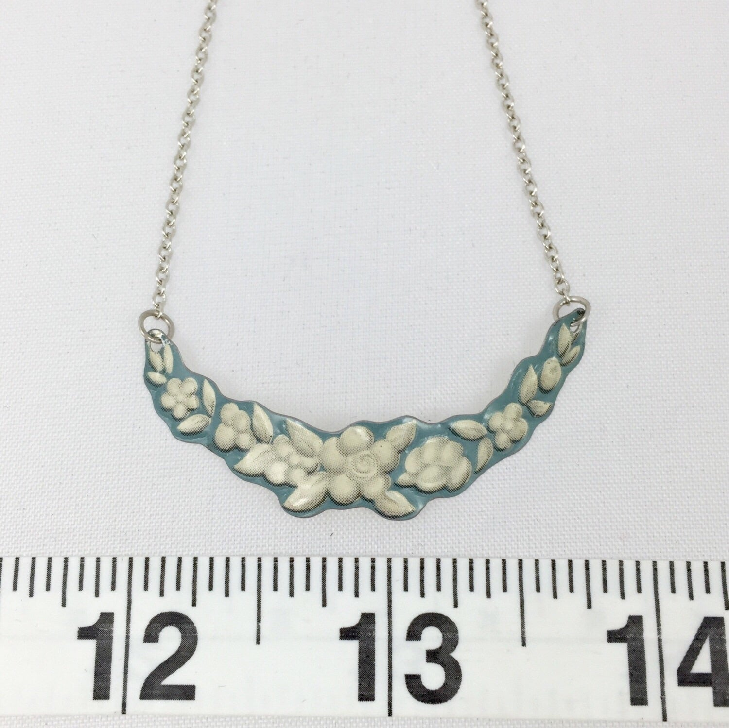 Recycled Tin Jewelry - Blue Wedgwood Vintage Necklace Measurement